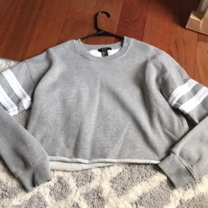 Grey with white strips cropped sweatshirt